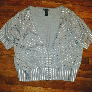 Lane Bryant 22 24 Silver Sequined Cardigan Sweater